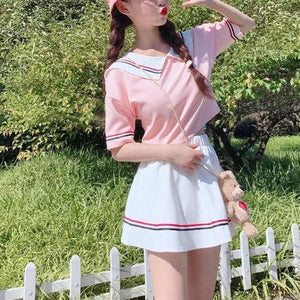 Cute Baby Doll Coller Short Sleeve Blouse and Skirt Two Piece Set SP15320