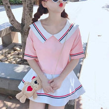 Load image into Gallery viewer, Cute Baby Doll Coller Short Sleeve Blouse and Skirt Two Piece Set SP15320