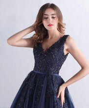 Load image into Gallery viewer, Dark Blue V Neck Tulle Lace Long Prom Dress, Blue Evening Dress - SpreePicky FreeShipping