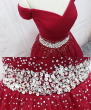 Load image into Gallery viewer, Burgundy Tulle Sequin Short Prom Dress, Burgundy Homecoming Dress A028 - DelaFur Wholesale