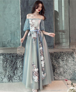 Gray Blue Tulle Lace Long Prom Dress, Gray Blue Evening Dress - DelaFur Wholesale