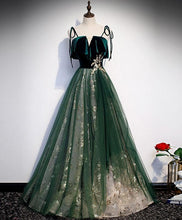 Load image into Gallery viewer, Green Tulle Lace Long Prom Dress Green Tulle Lace Formal Dress - DelaFur Wholesale