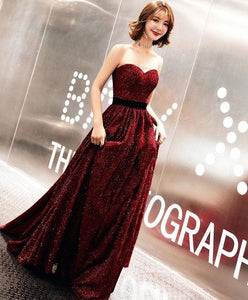 Burgundy Sweetheart Long Prom Dress, Burgundy Evening Dress - DelaFur Wholesale