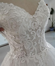 Load image into Gallery viewer, White Sweetheart Neck Tulle Lace Long Wedding Dress Lace Bridal Dress - DelaFur Wholesale