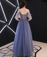 Load image into Gallery viewer, Blue V Neck Tulle Lace Long Prom Dress, Blue Tulle Evening Dress - DelaFur Wholesale