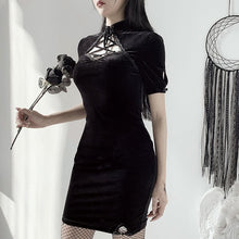 Load image into Gallery viewer, Dark Vintage Hollowed-out Lace-up Dress SP15203