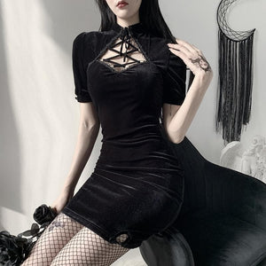 Dark Vintage Hollowed-out Lace-up Dress SP15203