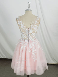 Pink V Neck Tulle Lace Short Prom Dress, Pink Homecoming Dress - DelaFur Wholesale