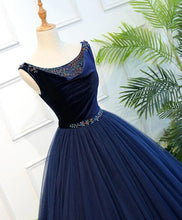 Load image into Gallery viewer, Dark Blue Tulle Long Prom Dress, Dark Blue Tulle Evening Dress - DelaFur Wholesale