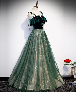 Green Tulle Lace Long Prom Dress Green Tulle Lace Formal Dress - DelaFur Wholesale