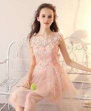 Load image into Gallery viewer, Pink Round Neck Tulle Lace Short Prom Dress, Pink Homecoming Dress - DelaFur Wholesale