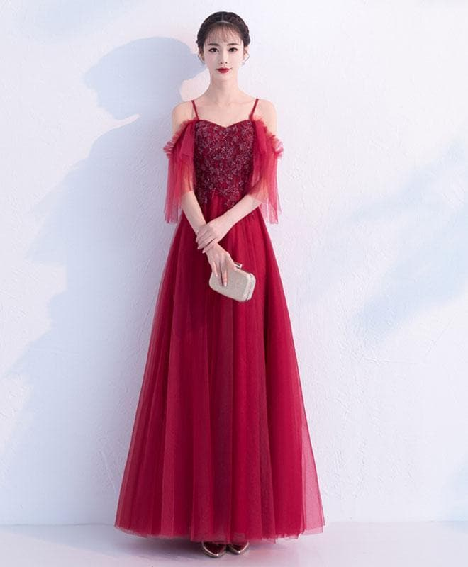 Burgundy Tulle Lace Long Prom Dress, Burgundy Tulle Evening Dress - DelaFur Wholesale
