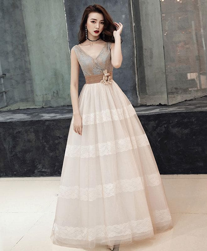 Unique V Neck Tulle Lace Long Prom Dress Tulle Lace Formal Dress - DelaFur Wholesale
