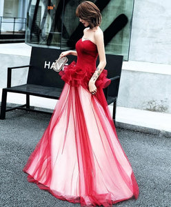 Simple Burgundy Tulle Long Prom Dress, Burgundy Evening Dress - DelaFur Wholesale