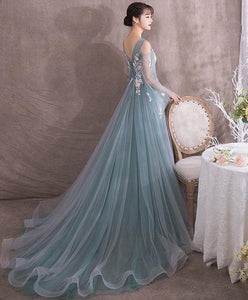 Green V Neck Tulle Lace Long Prom Dress, Green Evening Dress - DelaFur Wholesale