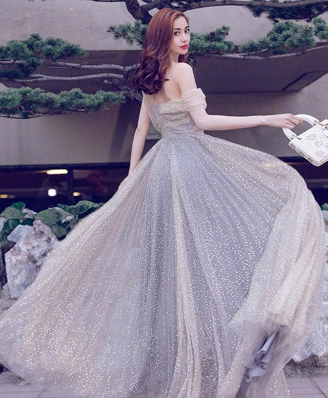 Unique Gray Tulle Sequin Long Prom Dress, Gray Evening Dress - DelaFur Wholesale