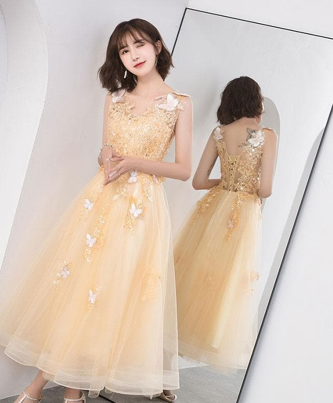 Gold V Neck Tulle Lace Short Prom Dress, Gold Homecoming Dress - DelaFur Wholesale
