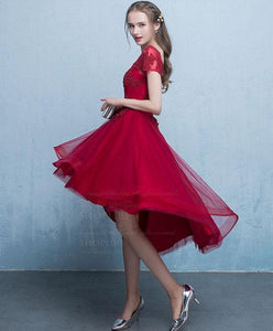 Burgundy Tulle Lace Short Prom Dress, Burgundy Homecoming Dress - DelaFur Wholesale