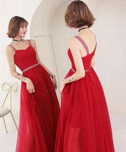 Red Sweetheart Tulle Long Prom Dress, Red Evening Dress - DelaFur Wholesale