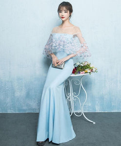 Simple Blue Mermaid Long Prom Dress, Blue Evening Dress - DelaFur Wholesale