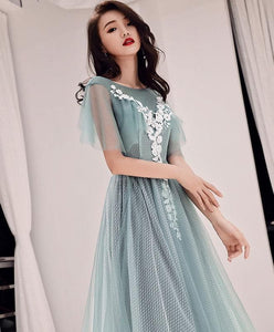Green Round Neck Tulle Lace Long Prom Dress, Green Evening Dress - DelaFur Wholesale