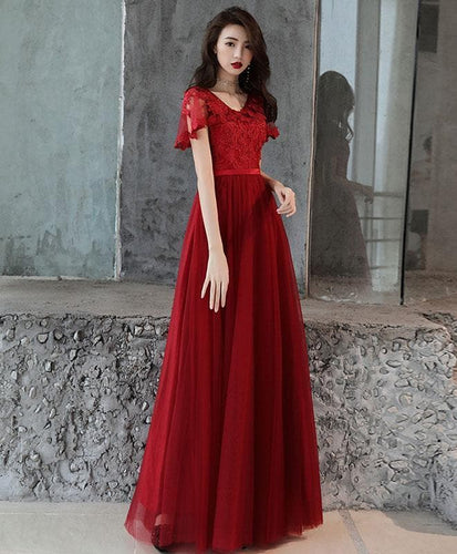 Simple Tulle Lace Long Prom Dress, Burgundy Bridesmaid Dress - DelaFur Wholesale