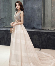 Load image into Gallery viewer, Unique V Neck Tulle Lace Long Prom Dress Tulle Lace Formal Dress - DelaFur Wholesale