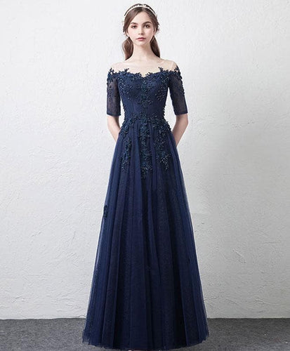 Dark Blue Tulle Lace Long Prom Dress, Bridesmaid Dress - DelaFur Wholesale