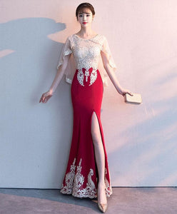 Burgundy Lace Mermaid Long Prom Dress Lace Formal Dress - DelaFur Wholesale