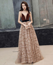 Load image into Gallery viewer, Champagne V Neck Tulle Long Prom Dress Tulle Evening Dress - Harajuku Kawaii Fashion Anime Clothes Fashion Store - SpreePicky