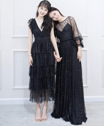 Black Tulle Lace Long Prom Dress, Black Evening Dress - DelaFur Wholesale