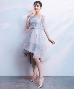 Gray Tulle Lace Short Prom Dress, Gray Tulle Homecoming Dress - DelaFur Wholesale