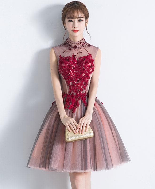 Unique Burgundy Tulle Lace Short Prom Dress, Tulle Homecoming Dress - DelaFur Wholesale