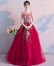 Load image into Gallery viewer, Burgundy Round Neck Tulle Lace Long Prom Dress, Burgundy Evening Dress - DelaFur Wholesale