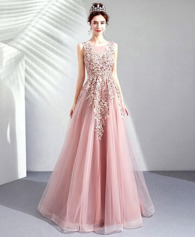 Pink Round Neck Tulle Lace Long Prom Dress, Pink Evening Dress - DelaFur Wholesale