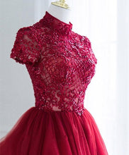 Load image into Gallery viewer, Burgundy Tulle Lace Long Prom Dress, Tulle Lace Evening Dress - Harajuku Kawaii Fashion Anime Clothes Fashion Store - SpreePicky