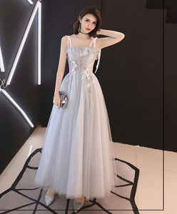 Gray Tulle Tea Length Prom Dress, Gray Tulle Evening Dress - DelaFur Wholesale