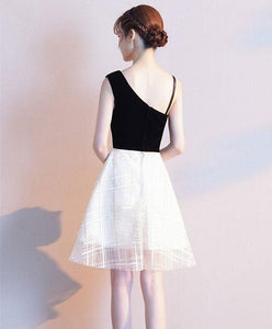 Black One Shoulder Tulle Short Prom Dress, White Homecoming Dress - DelaFur Wholesale