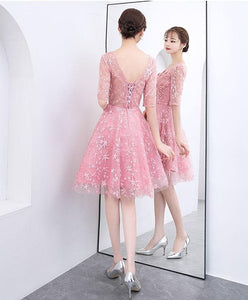 Pink Lace Short Prom Dress. Pink Lace Homecoming Dress - DelaFur Wholesale