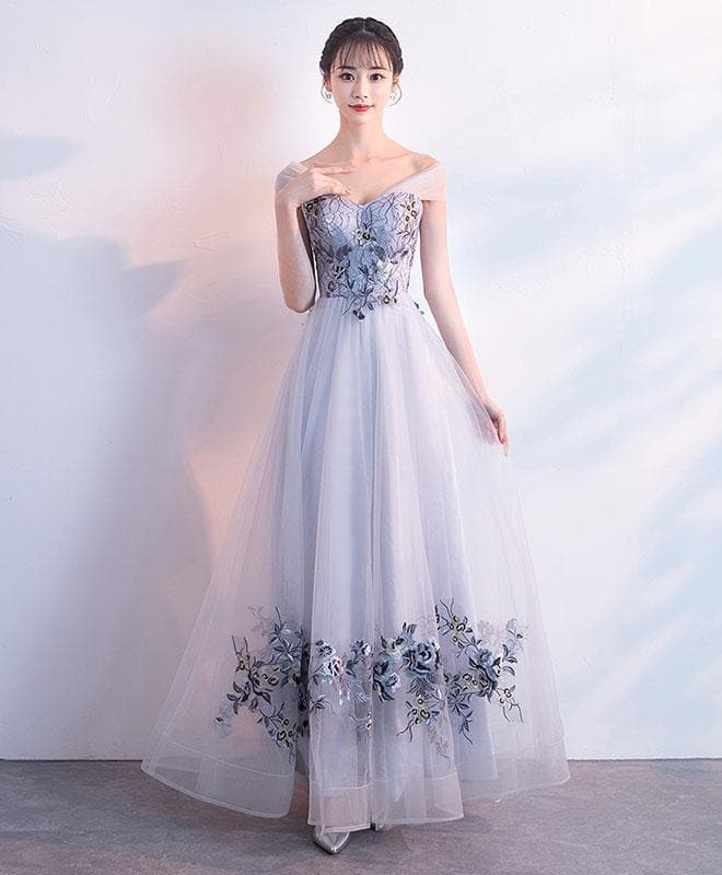 Gray Tulle Lace Applique Long Prom Dress, Gray Evening Dress - DelaFur Wholesale