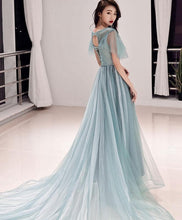 Load image into Gallery viewer, Green Round Neck Tulle Lace Long Prom Dress, Green Evening Dress - DelaFur Wholesale