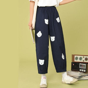 Vitality Girl Cute Bear Printing High Waist Casual Trousers SP15503