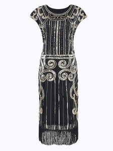Black 1920s Sequined Flapper Dress - DelaFur Wholesale