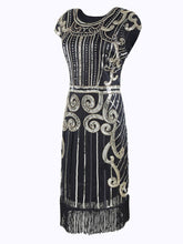 Load image into Gallery viewer, Black 1920s Sequined Flapper Dress - DelaFur Wholesale