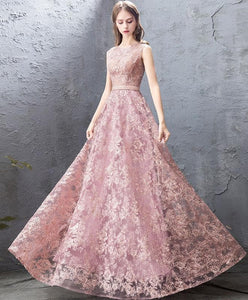Pink Round Neck Lace Long Prom Dress, Pink Evening Dress - DelaFur Wholesale