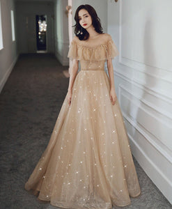 Champagne Round Neck Tulle Sequin Long Prom Dress Tulle Formal Dress A007 - DelaFur Wholesale