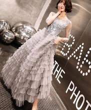 Load image into Gallery viewer, Gray Round Neck Tulle Lace Long Prom Dress, Gray Evening Dress - DelaFur Wholesale