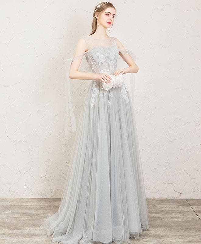 Gray Round Neck Tulle Lace Long Prom Dress, Gray Evening Dress - DelaFur Wholesale