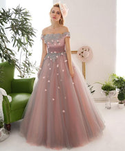 Load image into Gallery viewer, Pink Tulle Lace Off Shoulder Long Prom Dress, Pink Tulle Evening Dress - DelaFur Wholesale