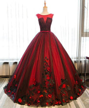 Load image into Gallery viewer, Burgundy Round Neck Tulle Lace Applique Long Prom Dress, Burgundy Evening Dress - Harajuku Kawaii Fashion Anime Clothes Fashion Store - SpreePicky